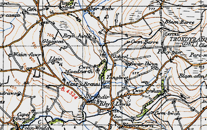 Old map of Aberbedw in 1947
