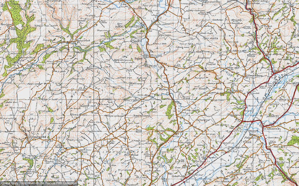 Old Map of Historic Map covering Tirpant in 1947