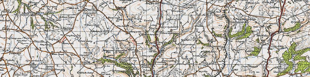 Old map of Afon Bele in 1946