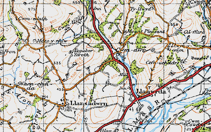 Old map of Cwmdwr in 1947