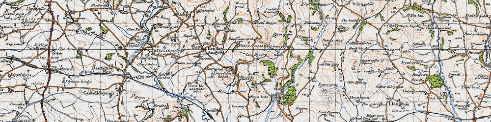 Old map of Whitland Abbey in 1946