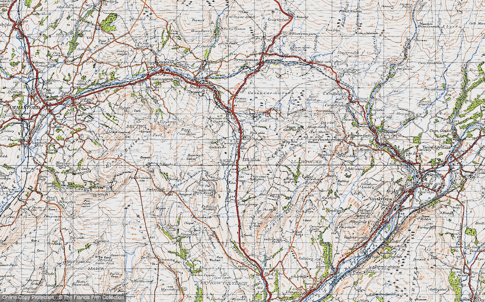 Old Map of Historic Map covering Bancbryn in 1947