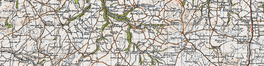 Old map of Afon Sylgen in 1947