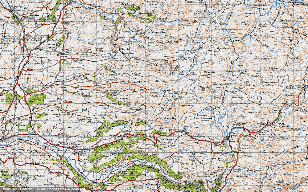 Old Map of Historic Map covering Banc Llety Ifan Hen in 1947