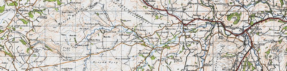Old map of Aberhydfer in 1947