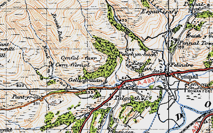 Old map of Ynys in 1947