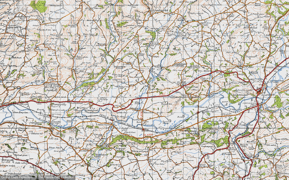Old Map of Historic Map covering Abersannan in 1947