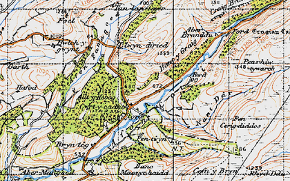 Old map of Banc y Ddau Fryn in 1947