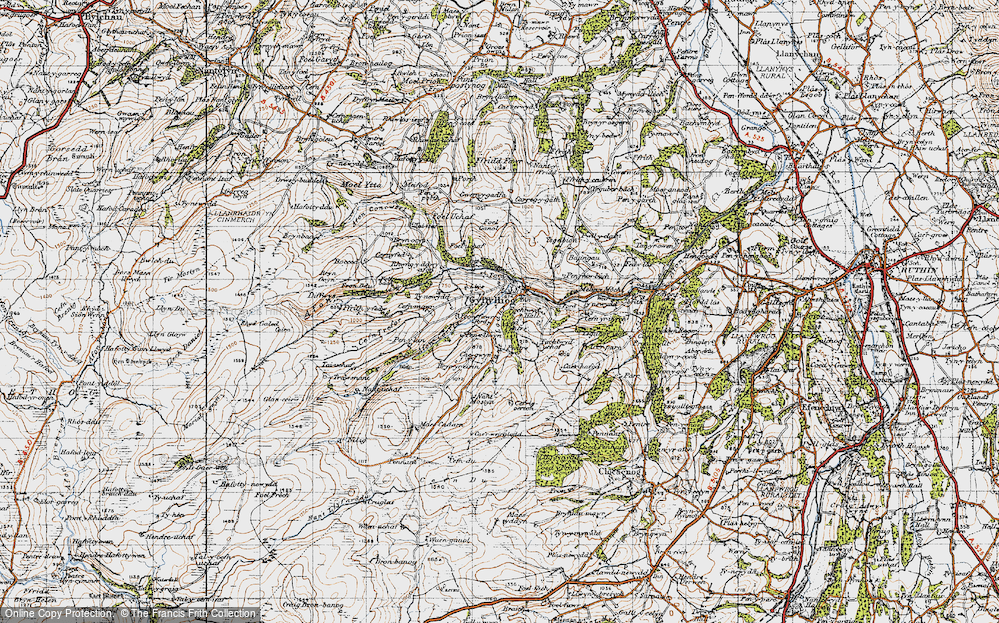 Old Map of Historic Map covering Afon Corris in 1947