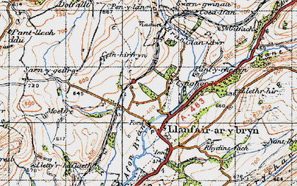 Old map of Banc Cefngarreg in 1947