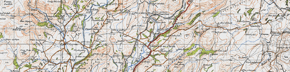 Old map of Afon Crychan in 1947