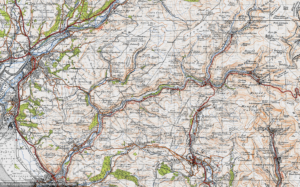 Old Map of Historic Map covering Afon Afan in 1947