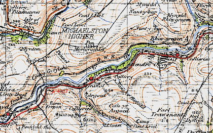 Old map of Afon Afan in 1947