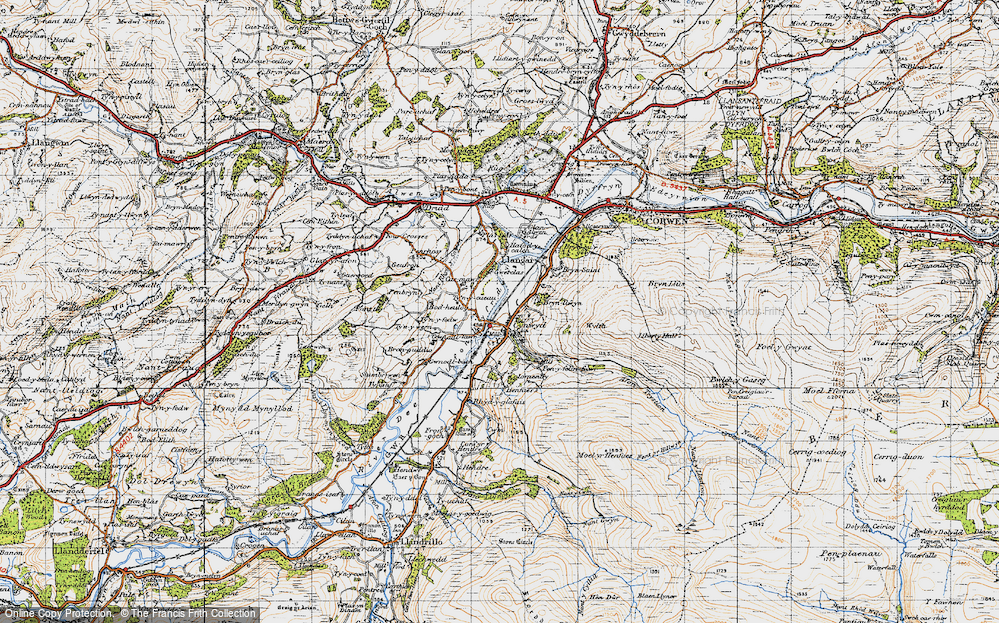 Old Map of Historic Map covering Afon Trystion in 1947