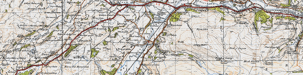 Old map of Cynwyd in 1947