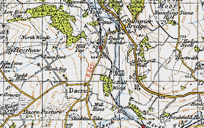 Old map of Dacre Banks in 1947