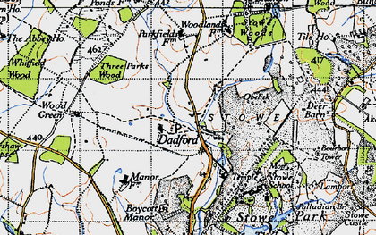 Old map of Stowe School in 1946