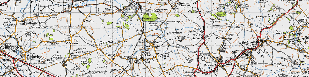 Old map of Ambion Wood in 1946