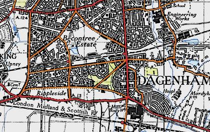Old map of Dagenham in 1946