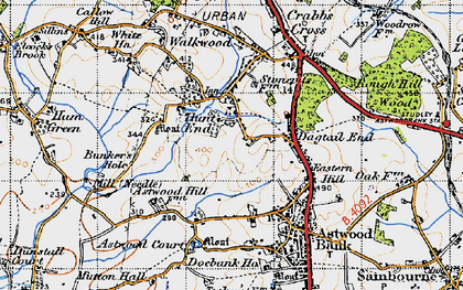Old map of Astwood Court in 1947
