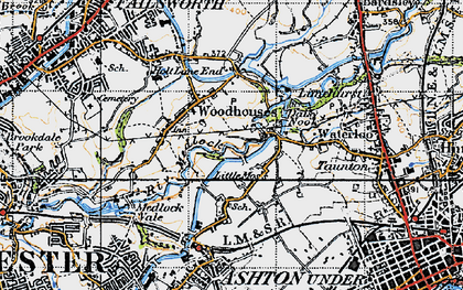Old map of Daisy Nook in 1947