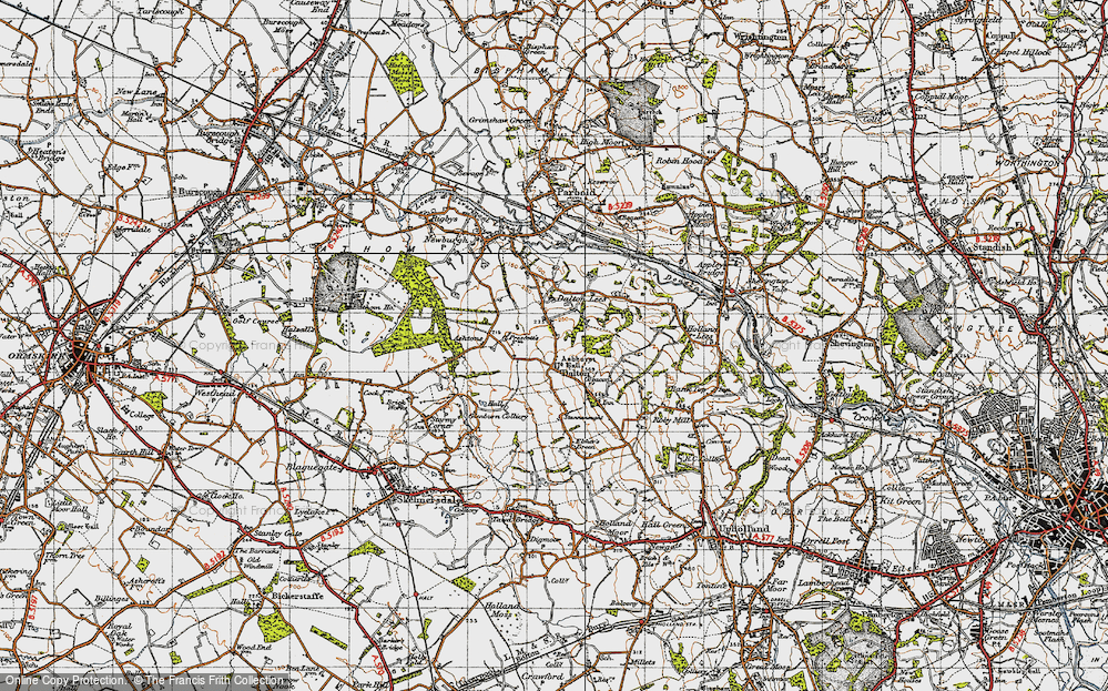 Old Map of Historic Map covering Ashurst's Hall in 1947