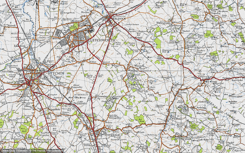 Old Map of Historic Map covering Lannock Hill in 1946