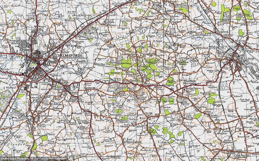 Old Map of Danbury, 1945 in 1945