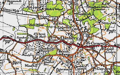 Old map of Danbury in 1945