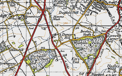 Old map of Dancers Hill in 1946
