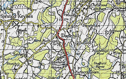 Old map of Danehill in 1940