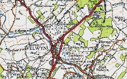 Old map of Danesbury in 1946