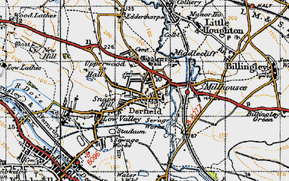 Old map of Darfield in 1947