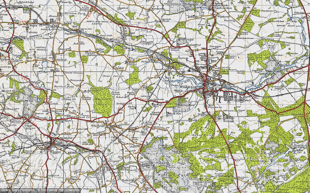 Old Map of Historic Map covering Worksop Manor in 1947