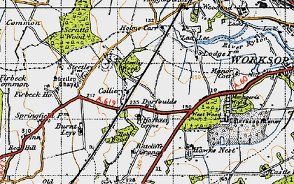 Old map of Worksop Manor in 1947