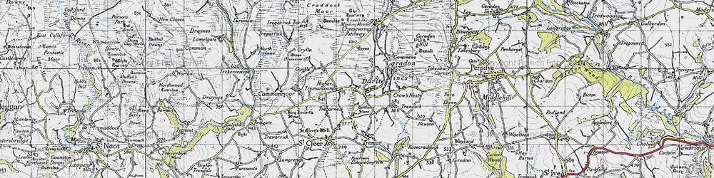 Old map of Darite in 1946