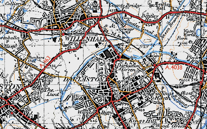 Old map of Darlaston in 1946