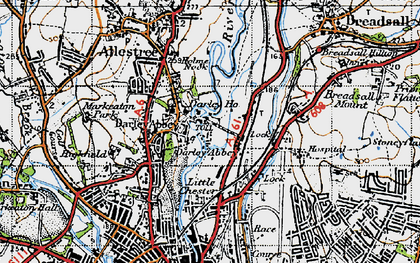 Old map of Darley Abbey in 1946