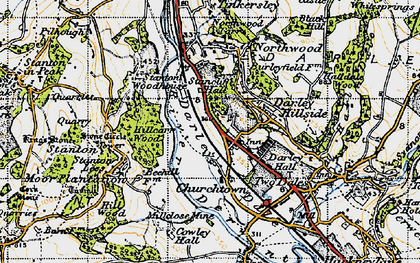 Old map of Darley Dale in 1947