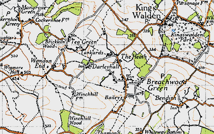 Old map of Darleyhall in 1946
