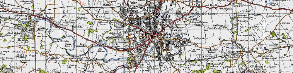 Old map of Darlington in 1947