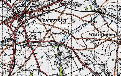 Old map of Whittington Heath in 1946