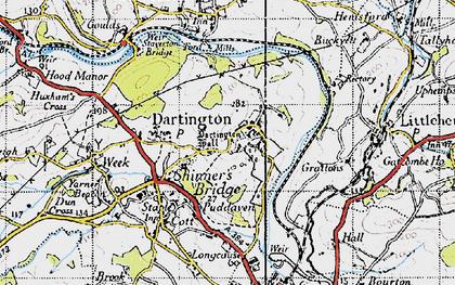 Old map of Dartington in 1946