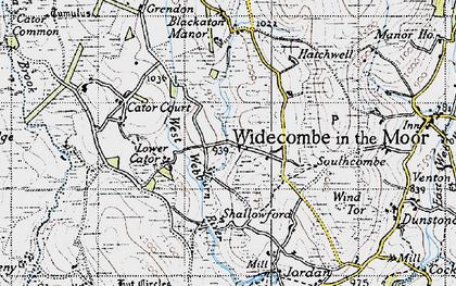 Old map of West Webburn River in 1946
