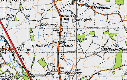 Old map of Dassels in 1946