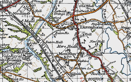 Old map of Davenham in 1947
