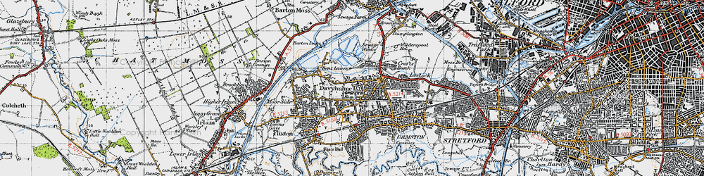 Old map of Davyhulme in 1947