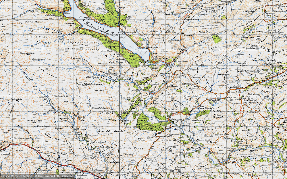 Old Map of Historic Map covering Afon Cownwy in 1947