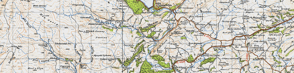 Old map of Afon Cownwy in 1947