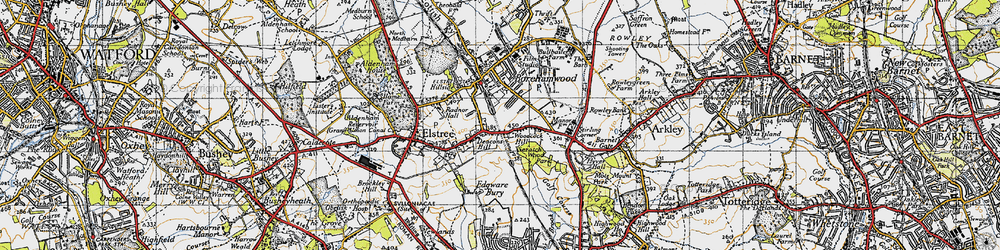Old map of Woodcock Hill in 1946